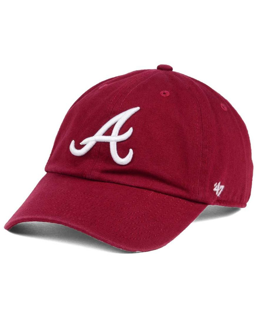 buy popular 58020 a701b  47 Brand Atlanta Braves Cardinal and White Clean Up Cap.