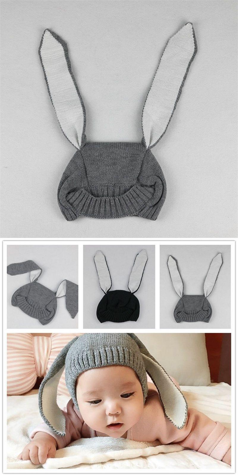 152bb51c551 2016 Newborn Baby Caps Photography Props Cute Rabbit Ears Hats Costume  Crochet Knitting Winter Hat Infant
