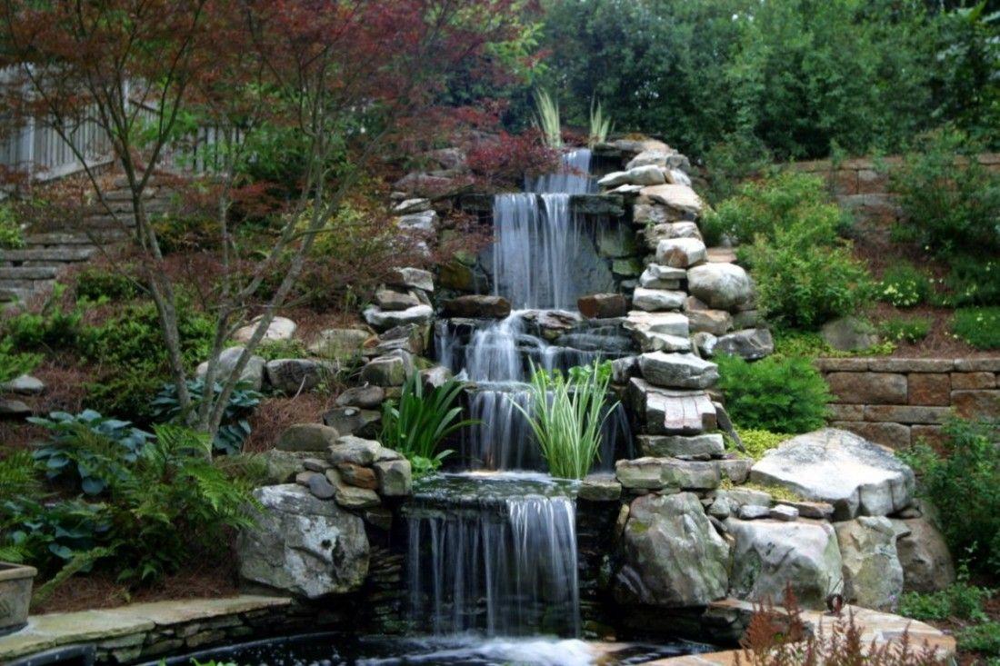 Waterfall garden waterfalls pinterest waterfalls for Koi pond waterfall design