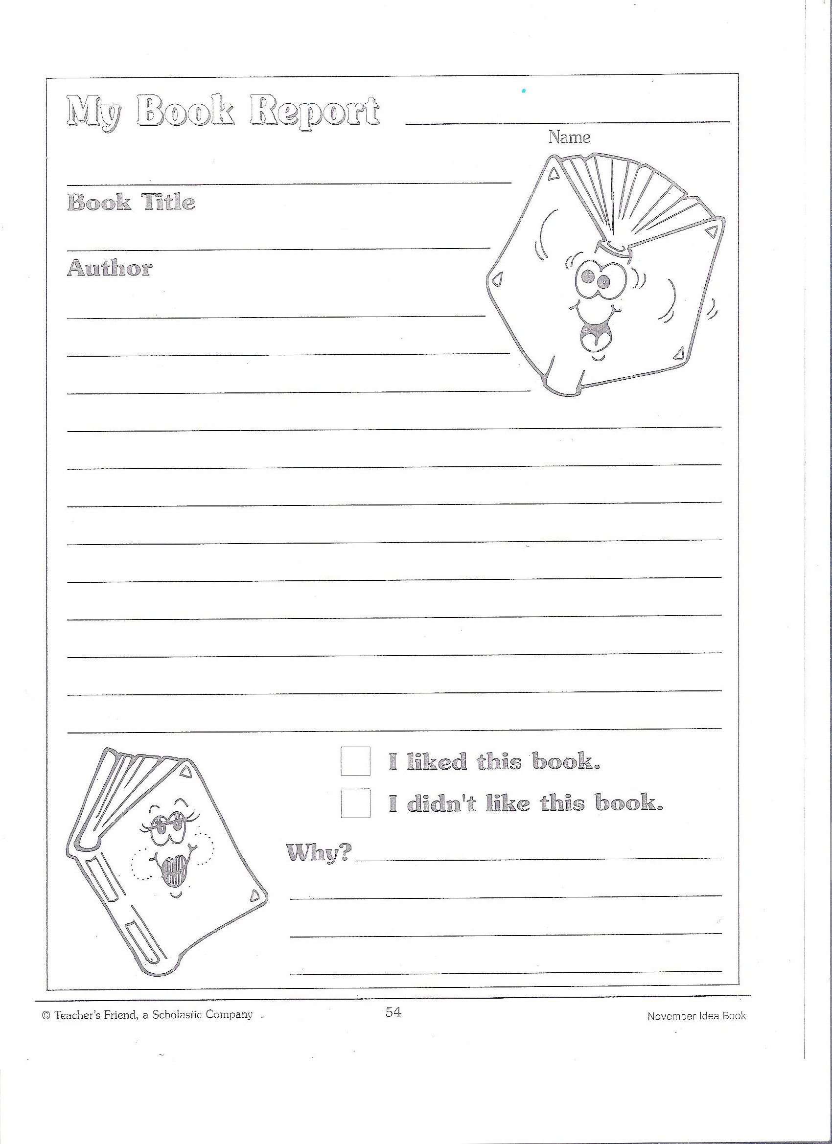 Printable Book Report Forms Miss Murphy S 1st And 2nd Grade Webpage