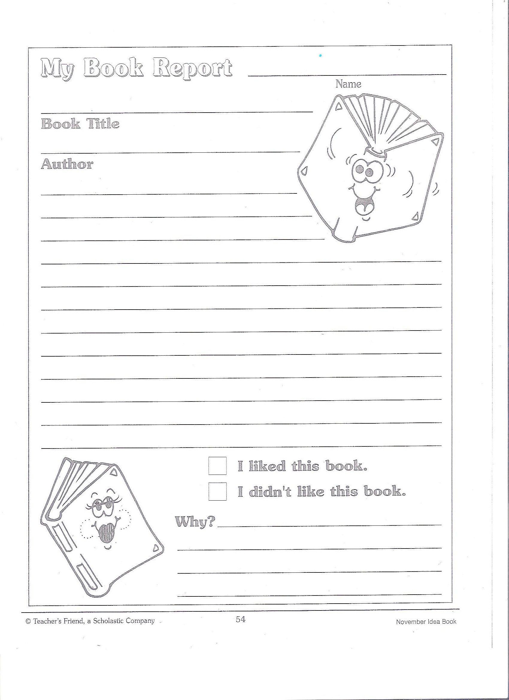 Book report guidelines 4th grade