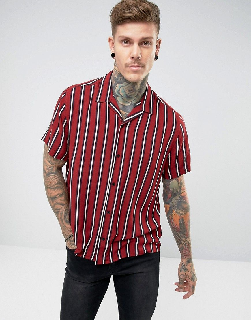 9ba97ba519 DESIGN oversized viscose stripe shirt with revere collar | My ...