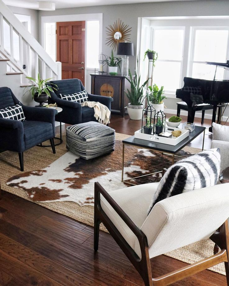 Modern Farmhouse Living Room And Staircase Eclectic Living Room With Midcentur Rugs In Living Room Farmhouse Living Room Furniture Farmhouse Decor Living Room