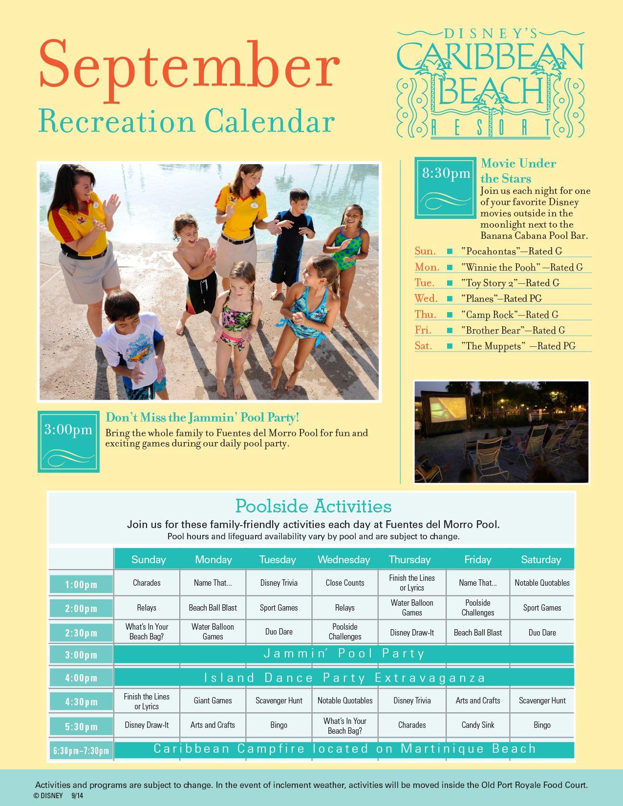 Disney Halloween 2020 Resort Activities Caribbean Beach Resort Recreation Activities Guide
