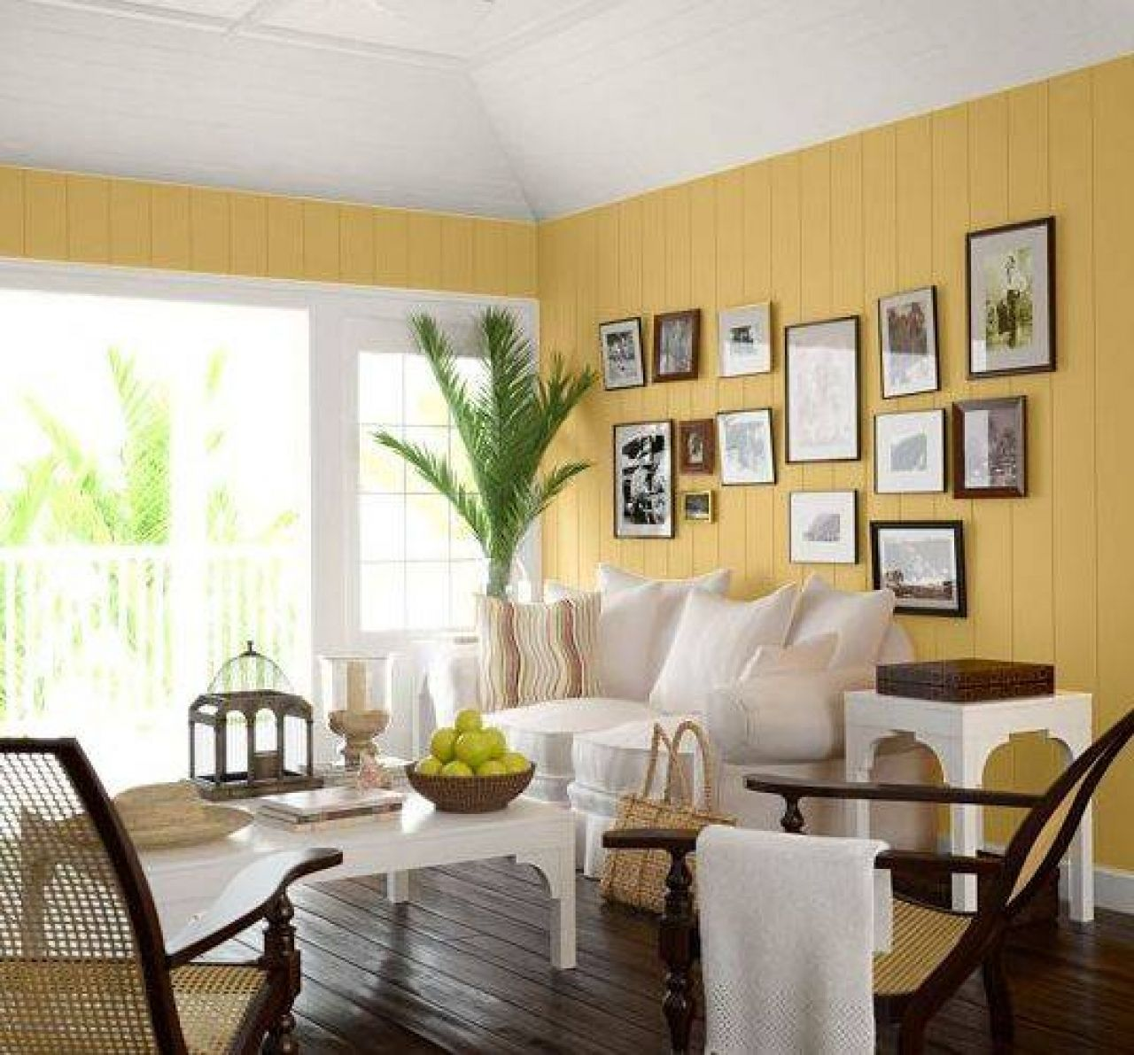High Quality Living Room:Breathtaking Yellow Wall Colors Living Room With White Leather  Sofa And Square White Coffee Table On Dark Wooden Floor Also Relaxing  Rattan ...