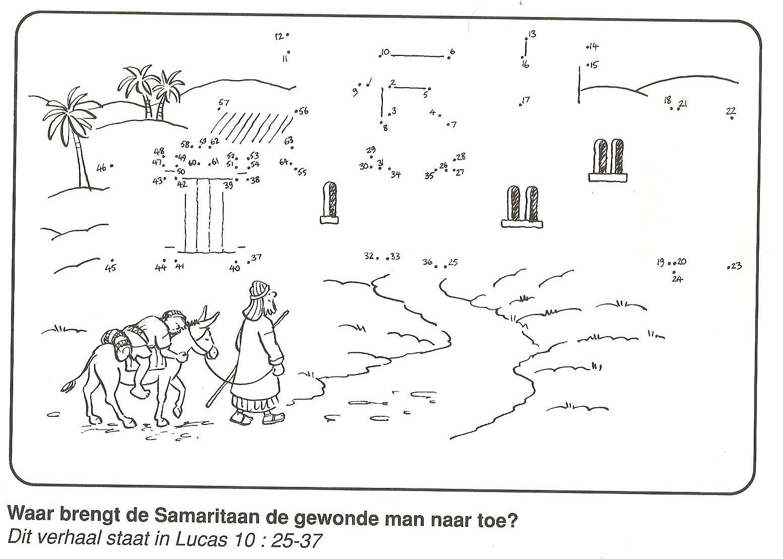 de barmhartige samaritaan brengt de gewonde bij een herberg van