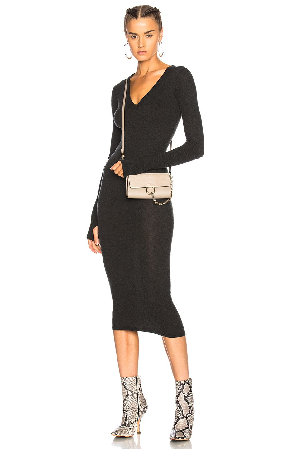 c6f3fa14754b33 Image 1 of Enza Costa Cashmere V Neck Dress in Charcoal