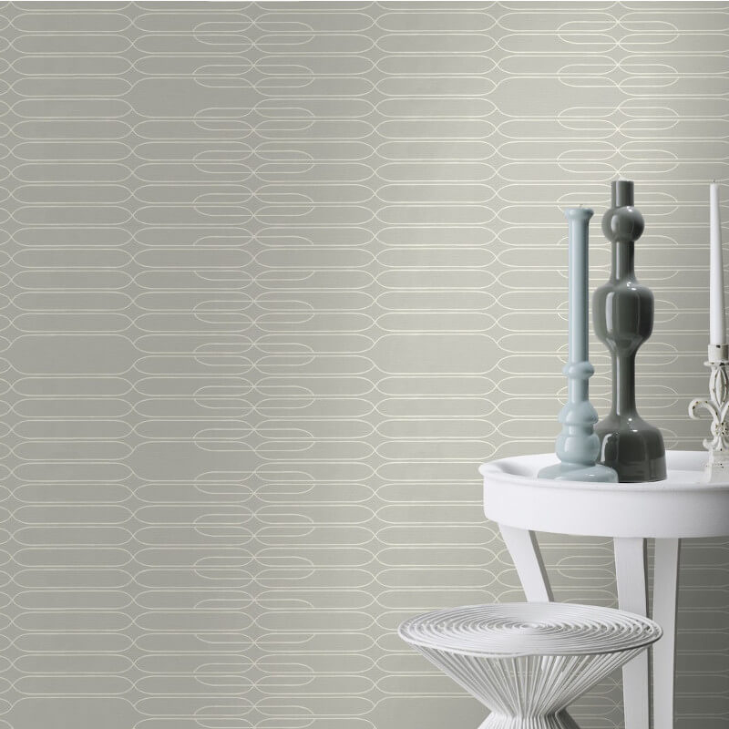 Studio Onszelf Linear Geometric White/Grey Wallpaper