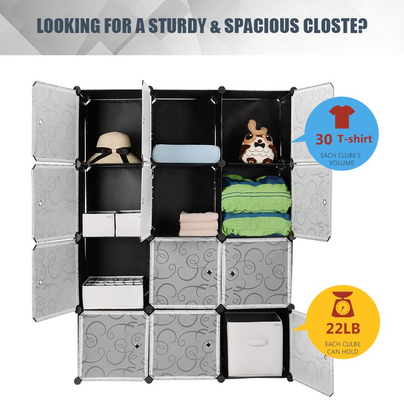 Diy Plastic Portable Wardrobe Closet Organizer Storage Shelving Cabinet 12 Cube Sortwise Portable Closet Portable Wardrobe Closet Wardrobe Closet Organizer