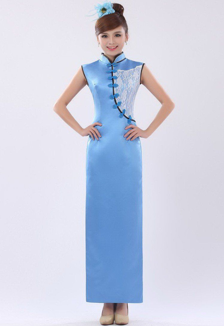 Blue Silk Lace Applique Full Length Modern Cheongsam Prom Dress ...