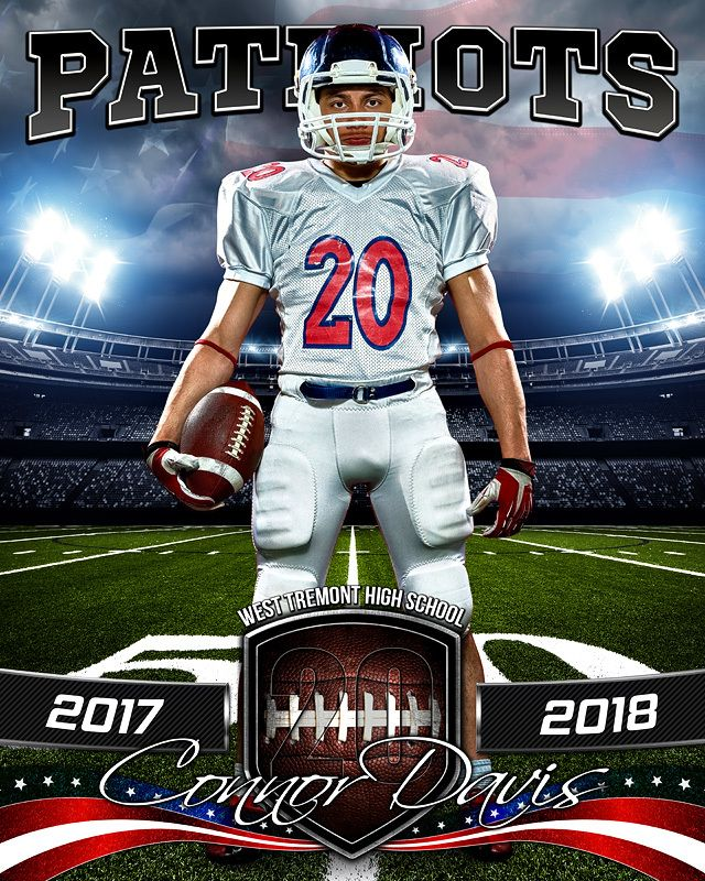 Sports poster photo template american football sports for Youth sports photography templates