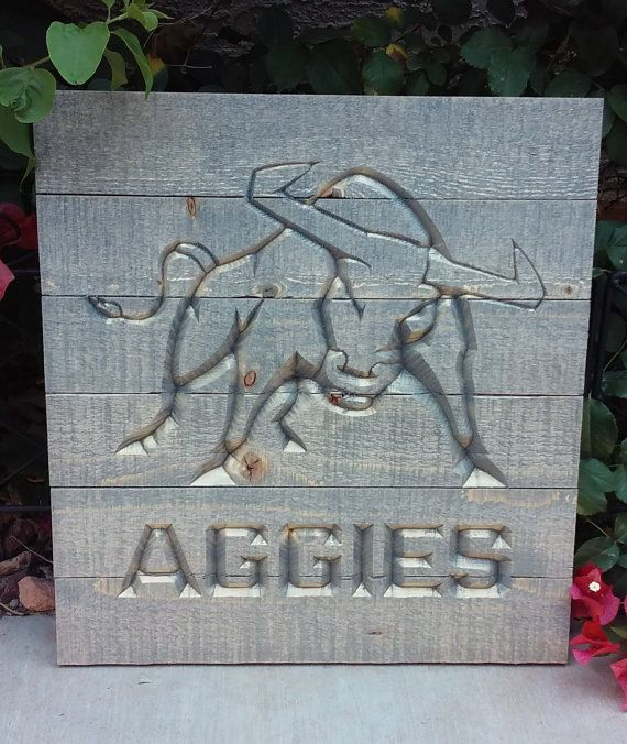 Utah State Aggie bull Pallet Sign by CaeloDesigns on Etsy ...