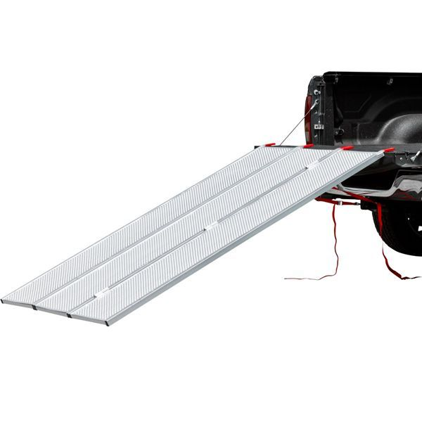 Tri-Fold ATV and Lawn Equipment Pickup Truck Ramps fold to 1/3rd their size for storage under or beside an ATV. Great for pickup truck beds, trailer beds and utility application!