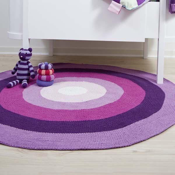 Häkel-Teppich rund, lila/pink basic von sebra | Häkeln | Teppich ...