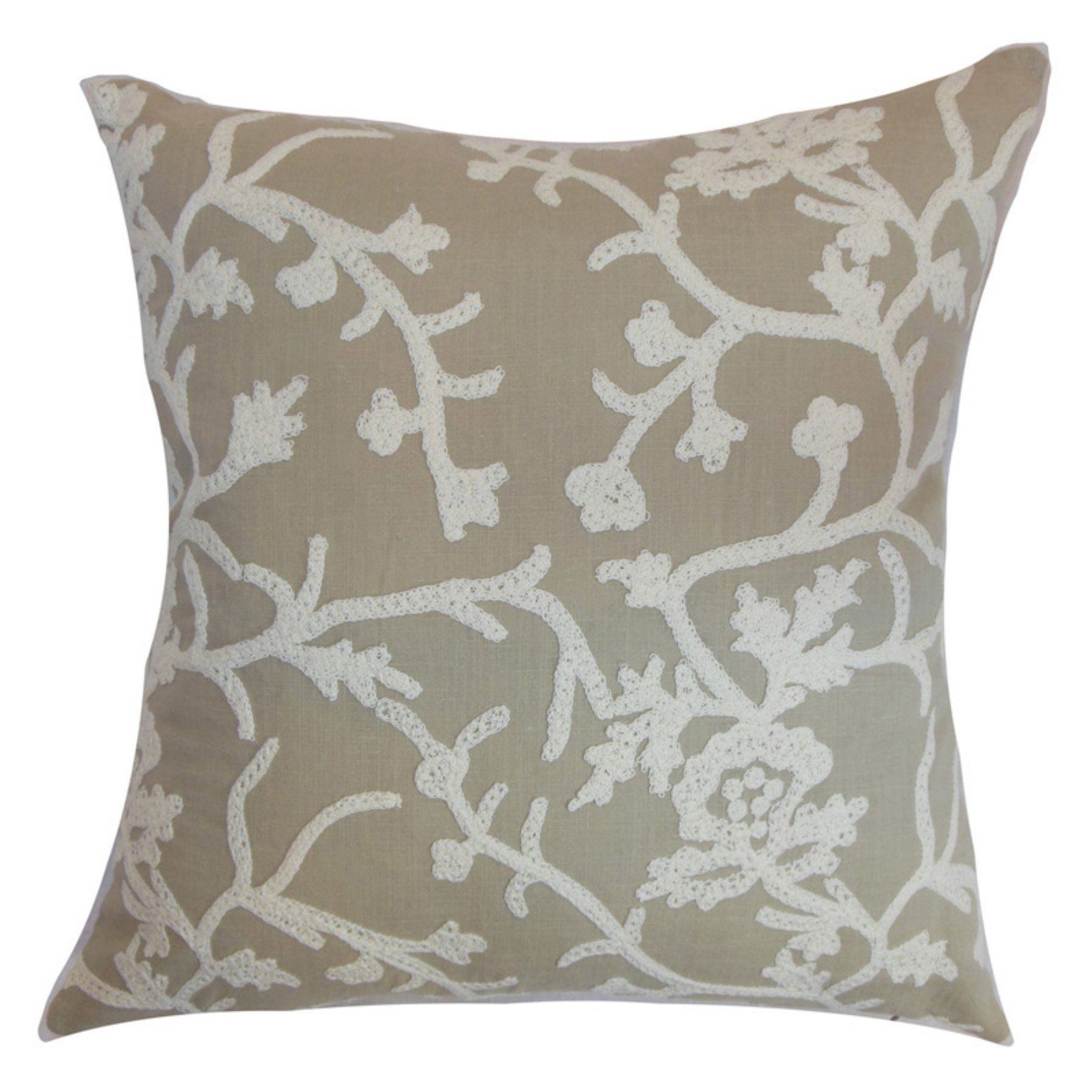 The Pillow Collection Paksane Floral Pillow Pumice