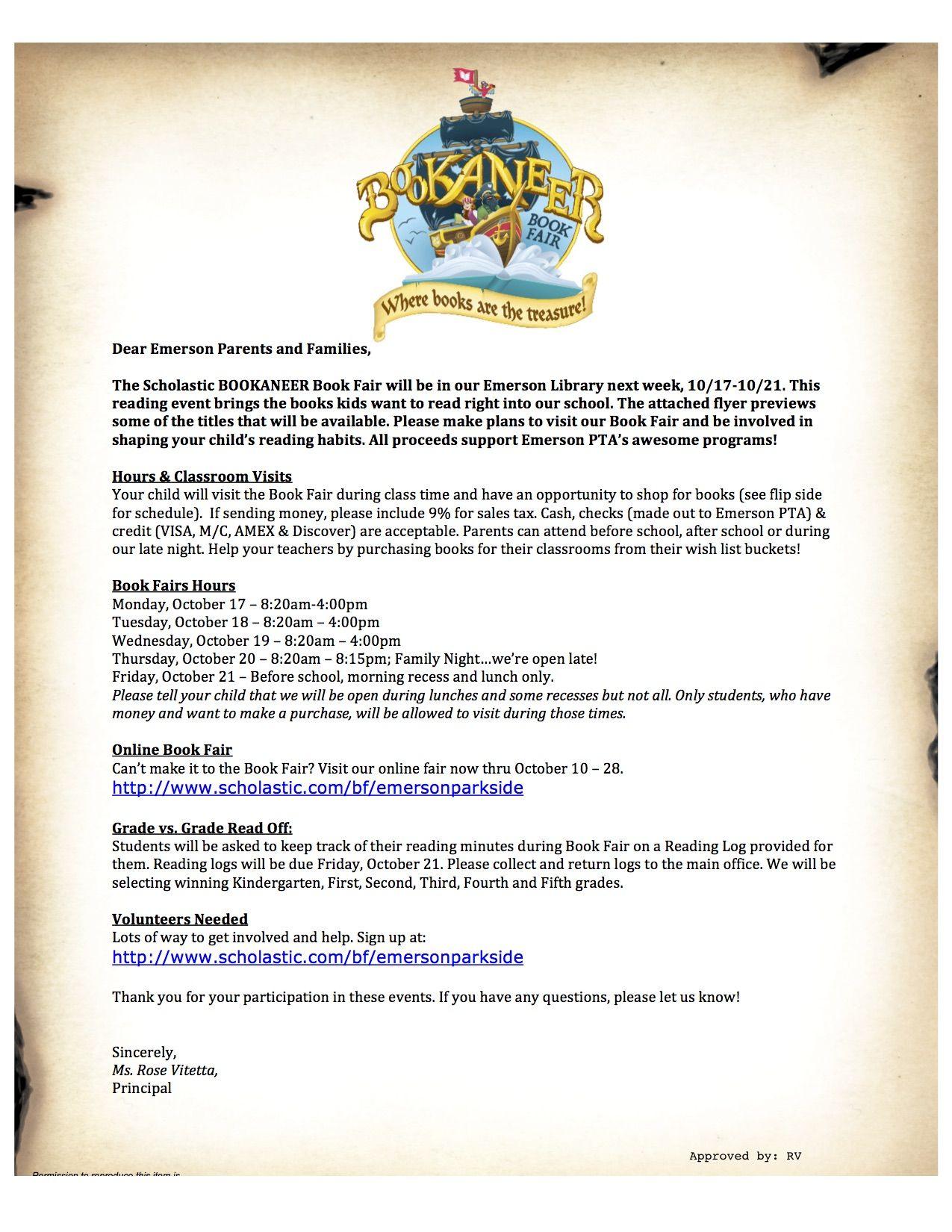 Scholastic Book Fair Emerson Parkside Academy Pta Parents Letter