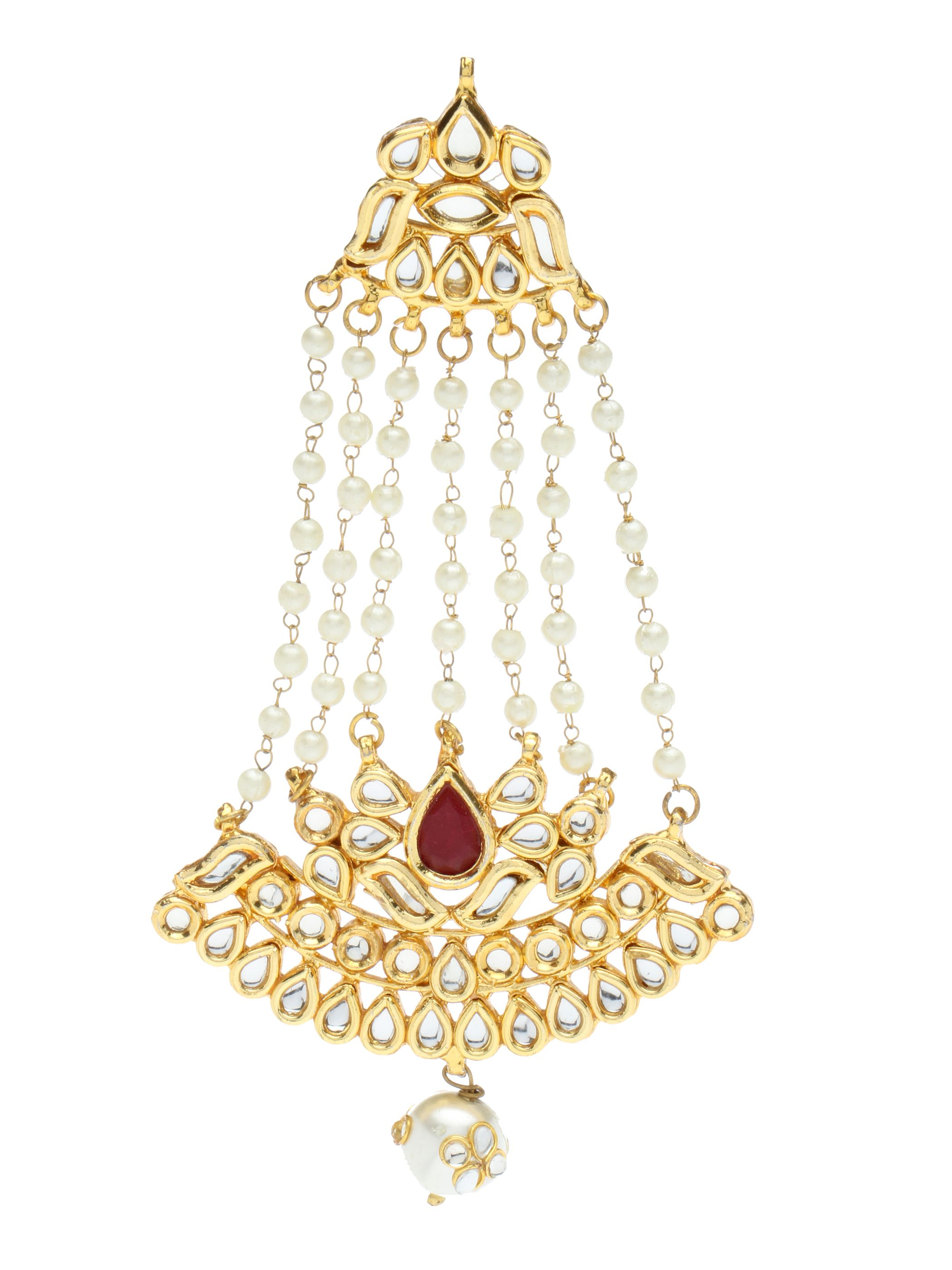Red Traditional White String Tone Long Hanging Earrings Ekatrra Gold Earring Fashionable