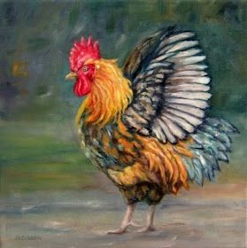 Daily Painting Projects: DaybreakRooster Oil Painting Farm Animal Art Chicken Fowl