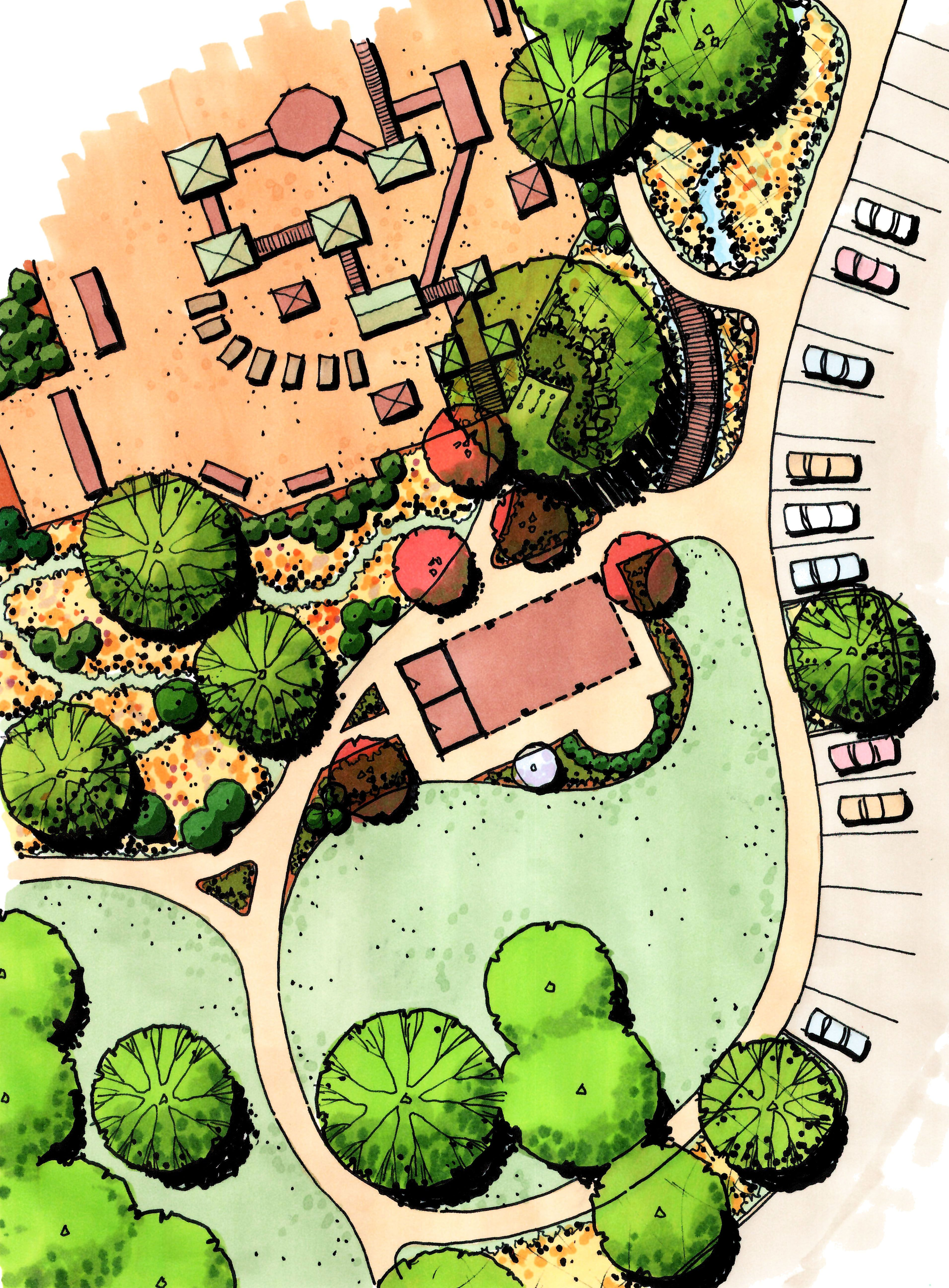 Park plan rendering nda landscape images pinterest for Landscape design site