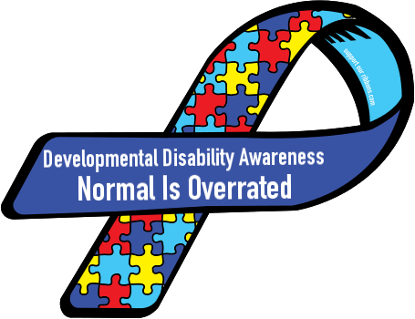 This picture is the official logo and badge that is used to represent Developmental Disability Awareness in schools and universities.