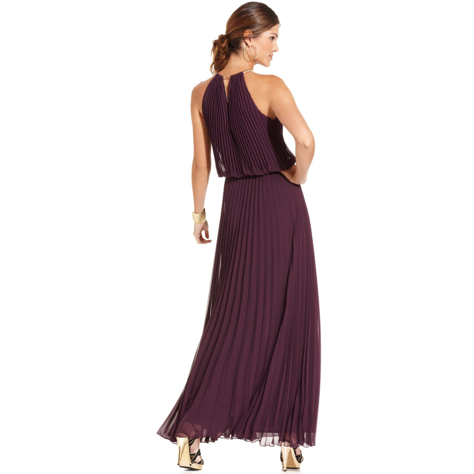 Xscape Dress Sleeveless Pleated Halter Blouson in Red (Plum) | Lyst ...