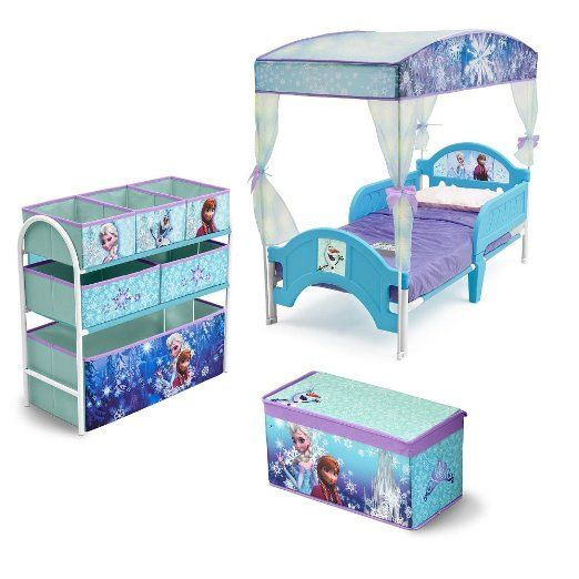 frozen room in a box toddler canopy bed toy box multi bin organizer - Multi Canopy Decor