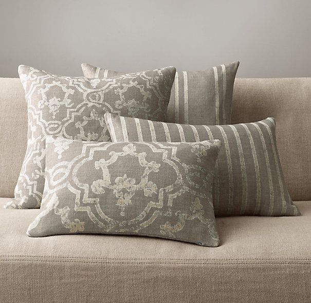 Restoration Hardware Pillows: Baroque Medallion Pillow Collection - Fog