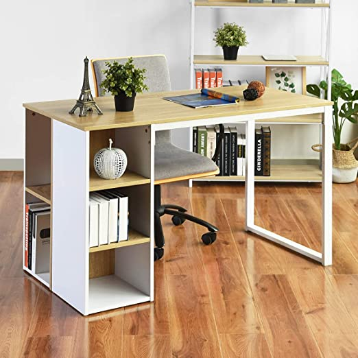 Amazon Com Office Computer Writing Desk With Storage Large Work Desk With 5 Shelves Students Study Tabl In 2020 Large Work Desk Modern Wood Desk Modern Computer Desk