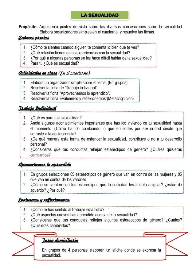 LA SEXUALIDAD  Propósito: Argumenta puntos de vista sobre las diversas concepciones sobre la sexualidad  Elabora organizador...
