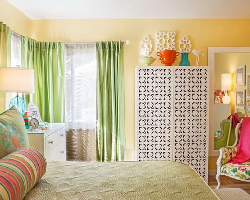 Yellow Bedroom Design With Green Curtains Home Design Ideas