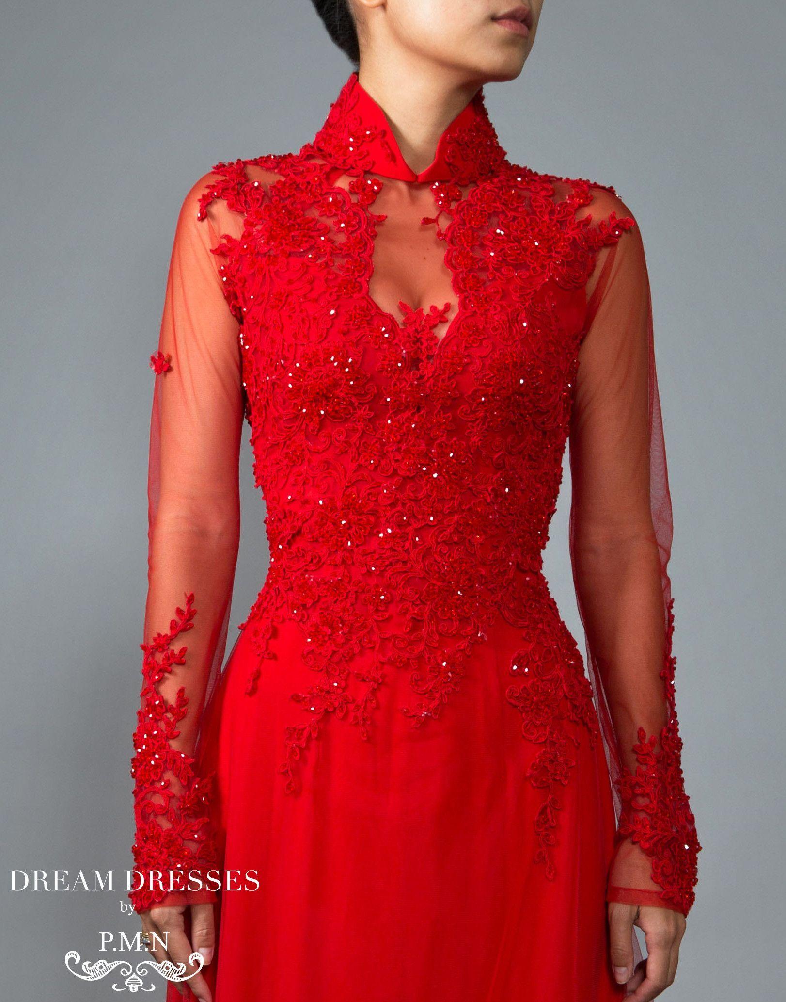 Red Ao Dai Vietnamese Lace Bridal Dress (VIONA) in 2020