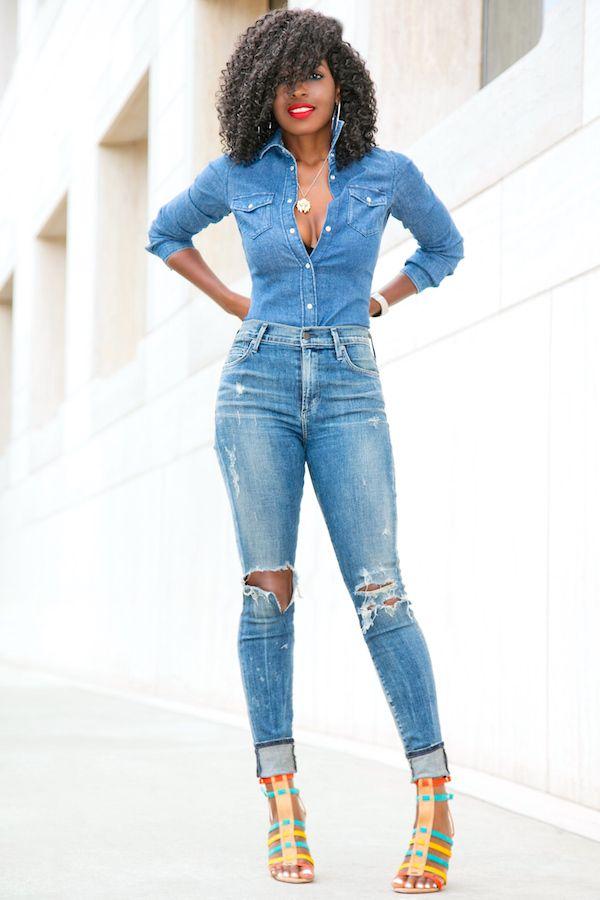 Style Pantry | Denim Shirt + Distressed High Waist Jeans