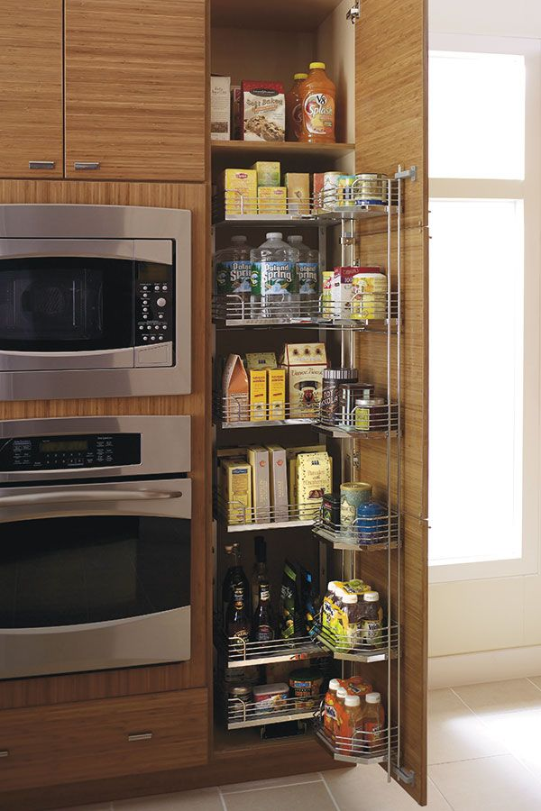 Our Tall Pantry Pullout Tandem Cabinet features door mounted ...