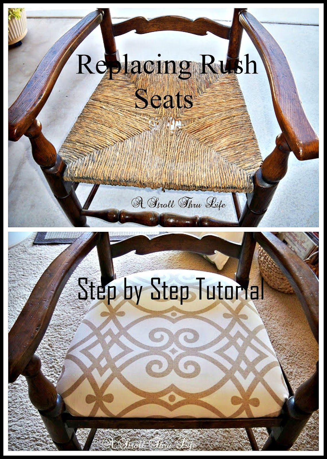 Replacing Rush Seats Upholstery Tutorial Step By Step A Stroll Thru Life Upholstery Fabric For Chairs Reupholster Furniture Chair Makeover
