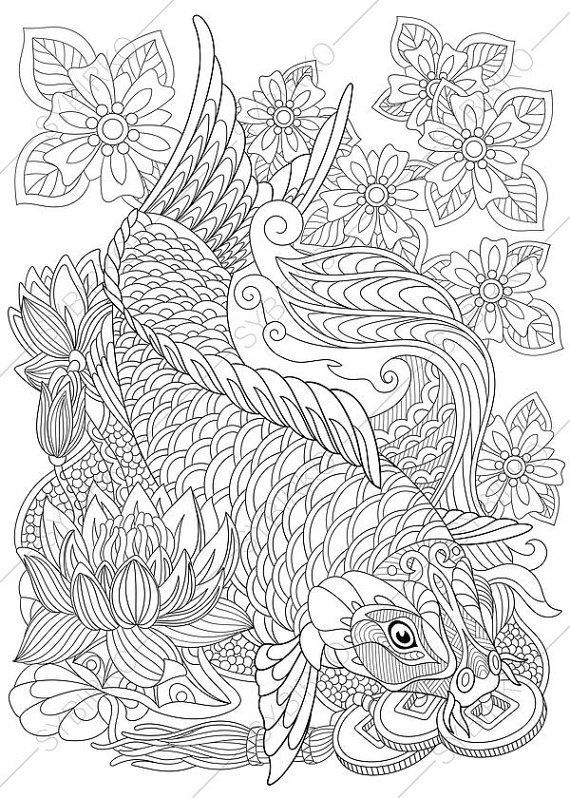 Coloring Pages For Adults Koi Carp Gold Fish Wealth Symbol Etsy Fish Coloring Page Coloring Pages Coloring Books