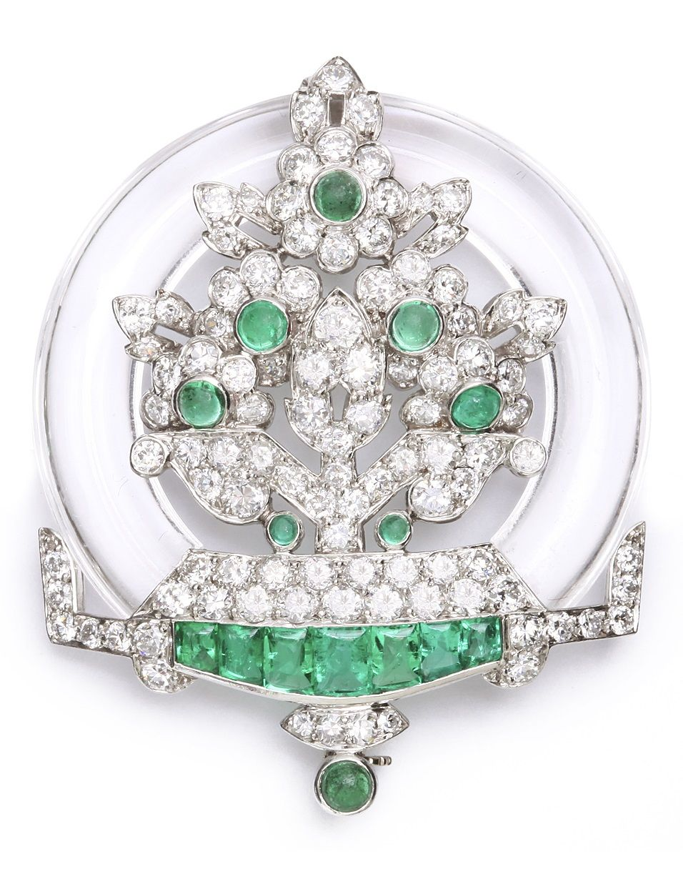 Art Deco rock crystal, emerald, and diamond circular brooch, set in platinum, American, circa 1935.