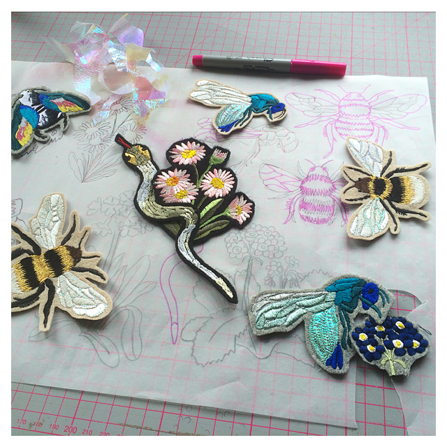 Embroidered patches in progress | Ellie Mac Embroidery