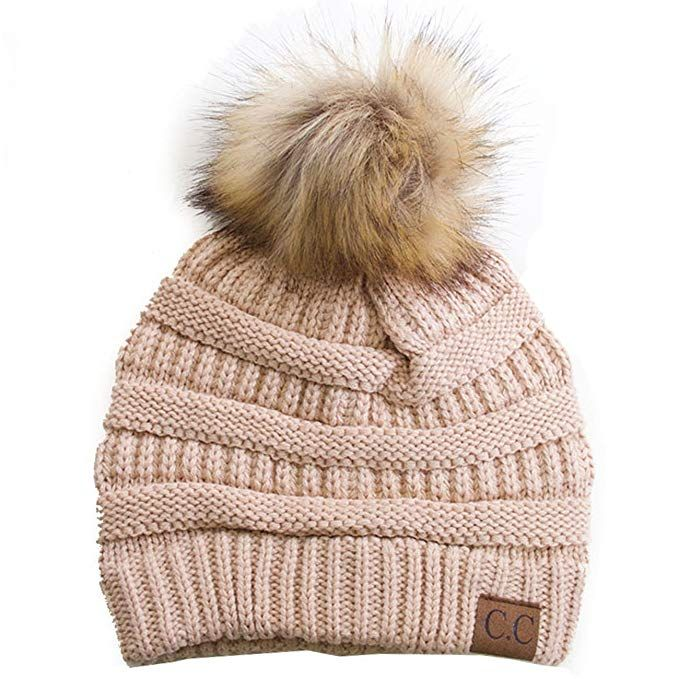 6ede1aab825bfa ScarvesMe CC Soft Stretch Cable Knit Ribbed Faux Fur Pom Pom Beanie Hat  Review Pom Pom