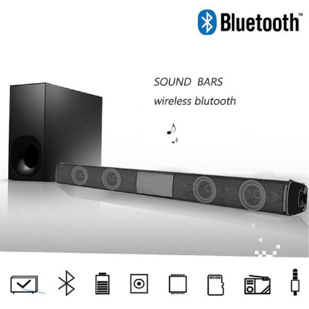 Acquistare Il Trasporto Libero 35mm Audio Wireless Bluetooth Home Theater TV Soundbar 3D Portatile Altoparlante Stereo Con FM E Disc Di U Ingresso