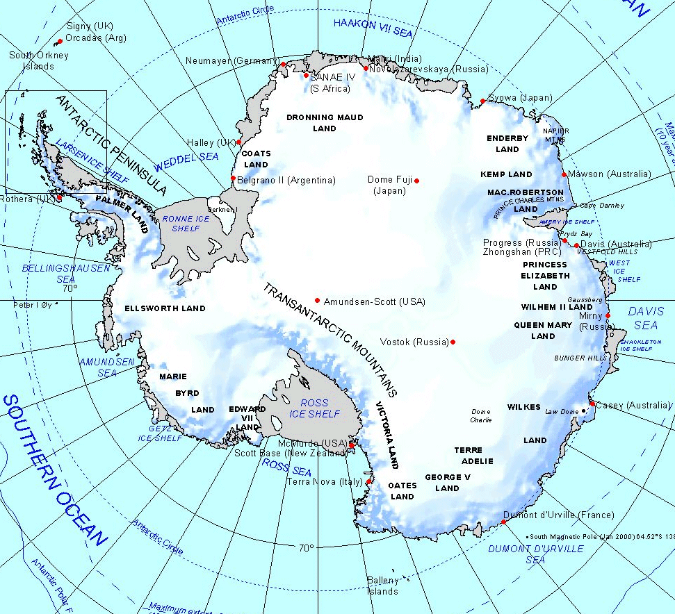 Physical map of Antarctica with the main stations. | Maps ...