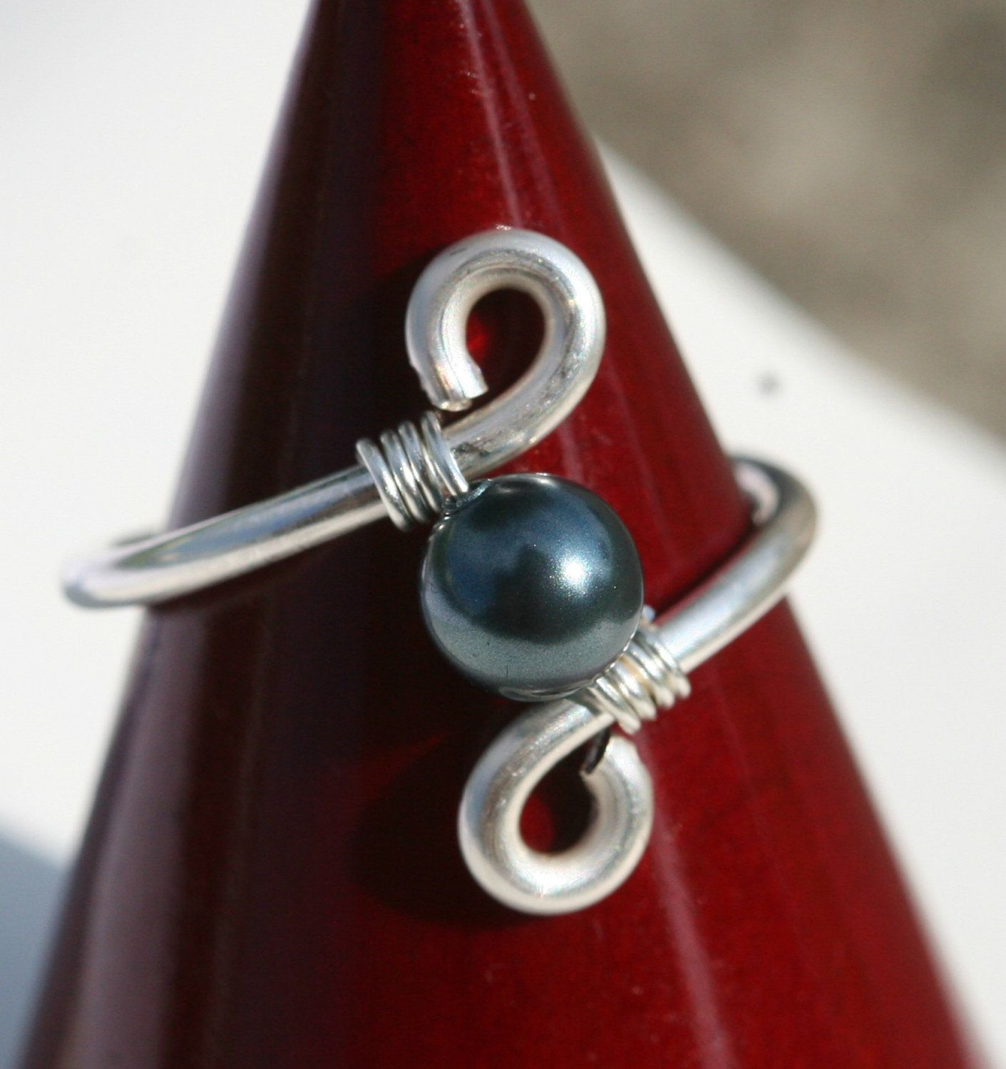 Tahitian Pearl Ring Wire Wrapped Jewelry Handmade Wire Wrapped Ring ...
