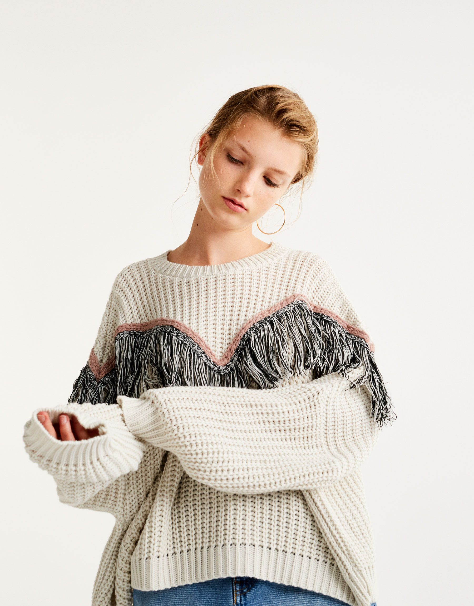 so cheap free delivery best Pull&Bear - woman - clothing - knit - sweater with fringe ...