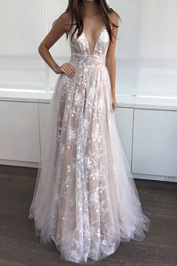 dd42392d1597 Elegant Champagne A-Line V-Neck Sleeveless Appliques Long Prom Dress