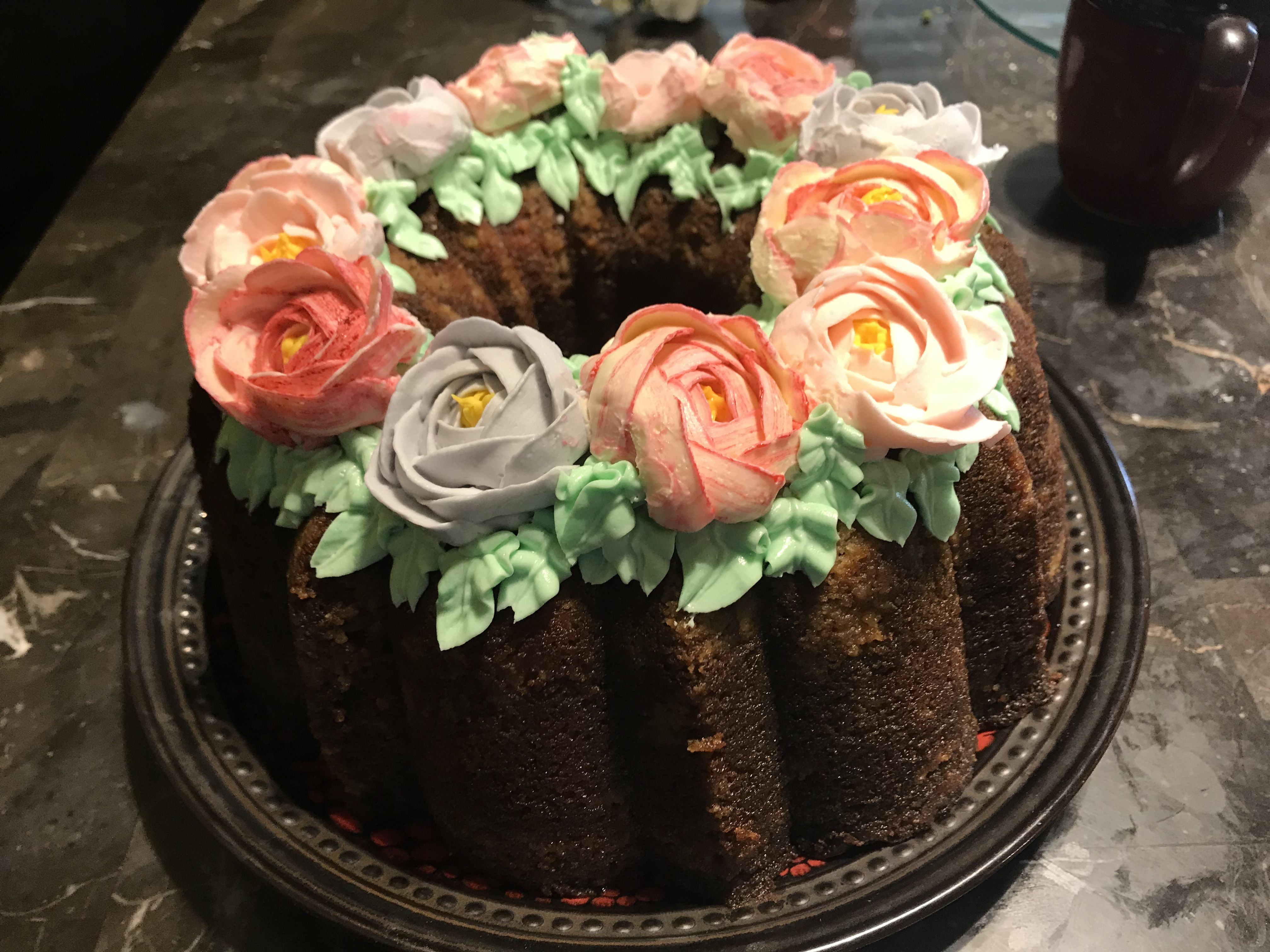 Decorated Rum Bundt Cake For Mother S Day With Images Cake
