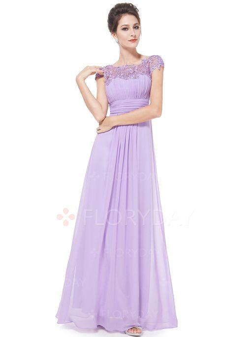 Polyester Plain Kort ærme Maxi Elegant Kjoler (1012673) @ floryday.com