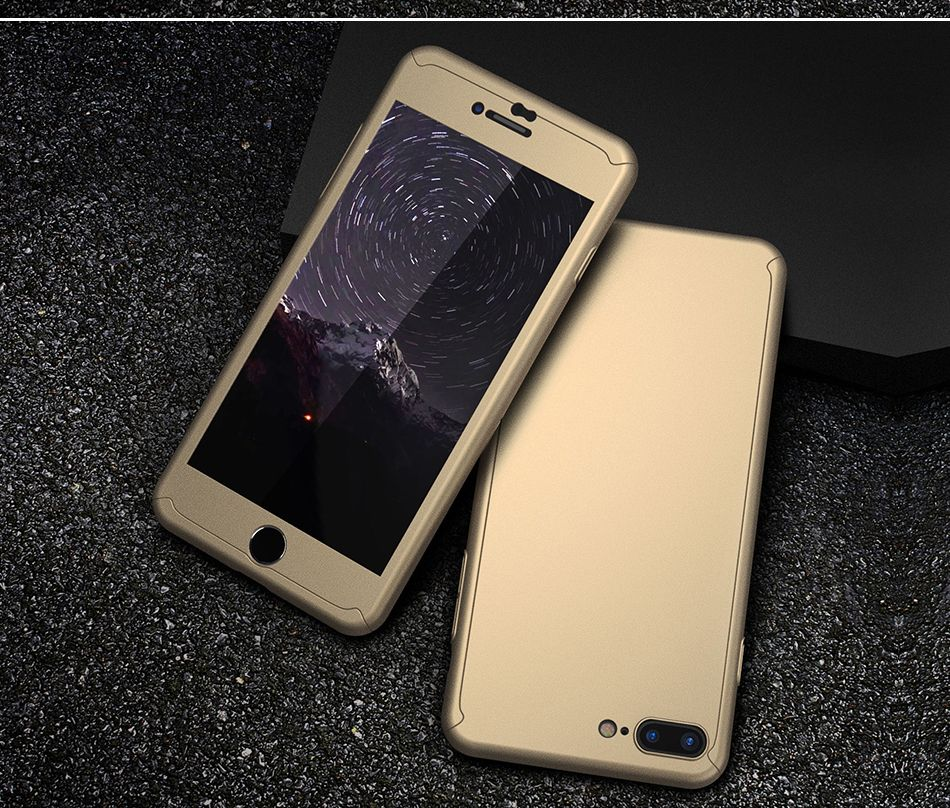 360 Degree Full Coverage Slim Hard PC Luxury Cover With Tempered Glass-iphone 7