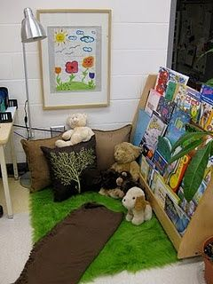 documents kindergarten classroom transformation from plastic and  bright primary colors to more neutral colors and natural materials. (Reggio-inspired)