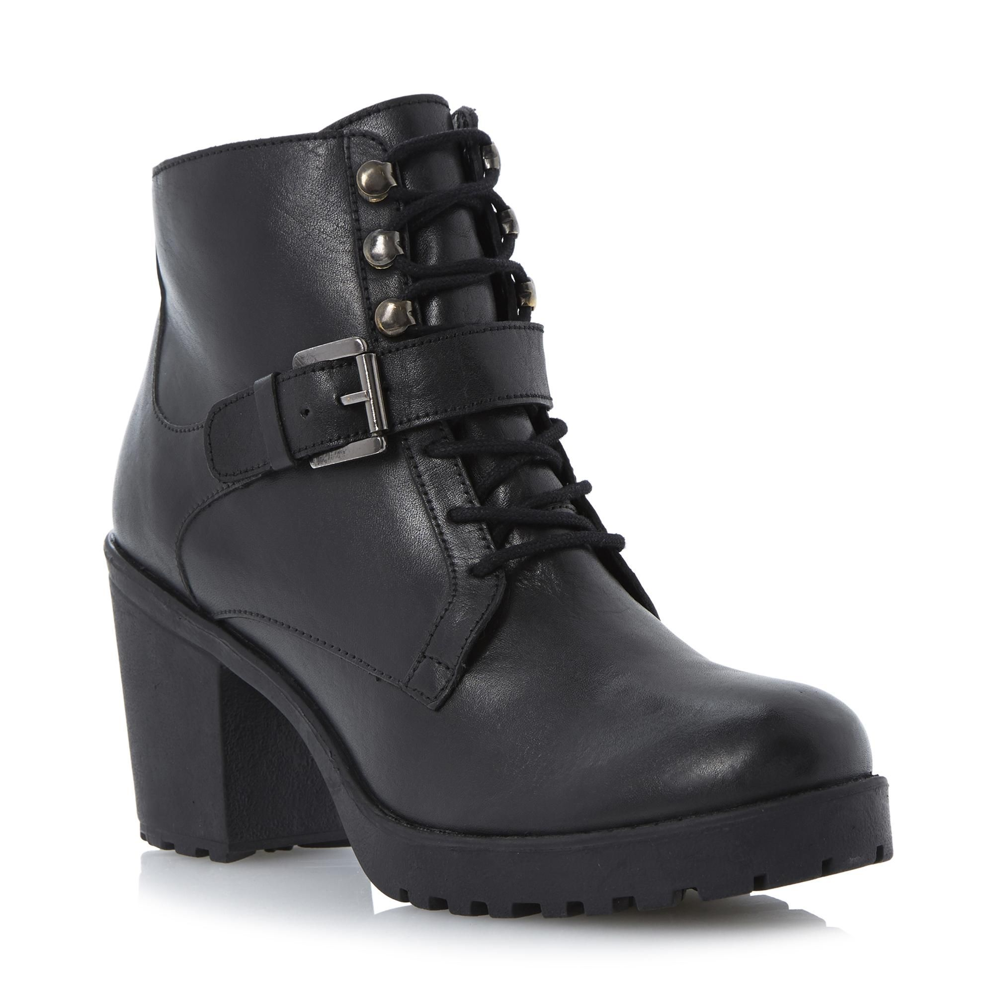 Cleated Sole Heeled Leather Ankle Boot