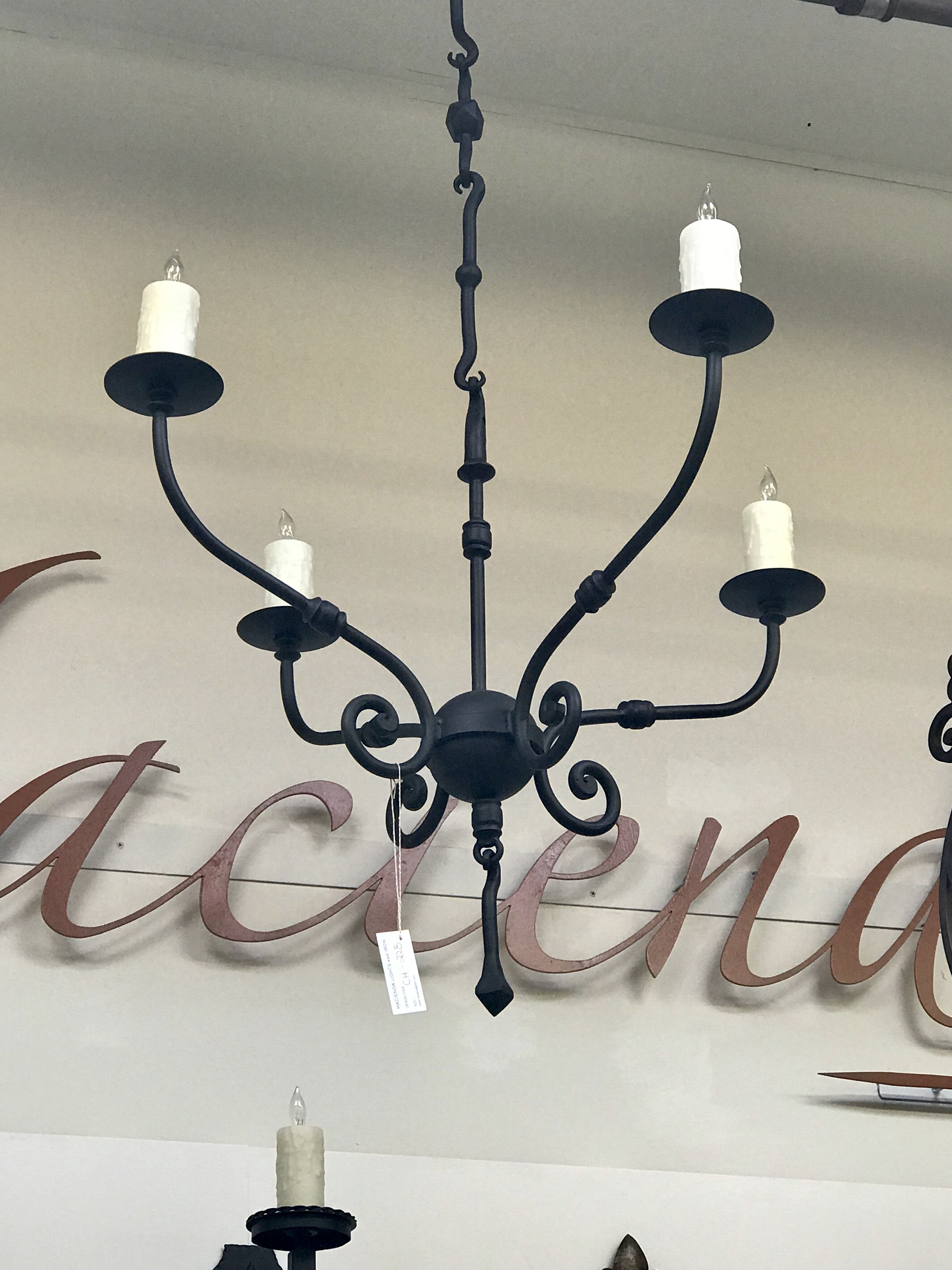 Ch 230 Hand Forged Iron Four Light Chandelier Lights