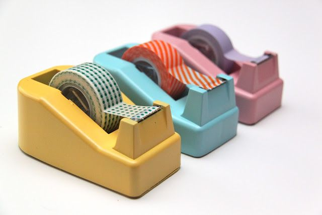 Tape Dispenser Makeover -- fresh coat of colorful paint, plus washi tape instead of scotch tape. Love!